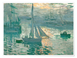 Póster Premium  Sunrise - Claude Monet