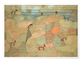 Póster Premium  Landscape with Donkeys - Paul Klee