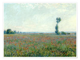 Póster Premium  Field with poppies - Claude Monet