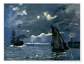 Póster Premium  Ships in Moonshine - Claude Monet