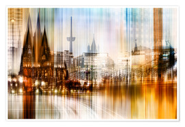 Póster Premium Germany Collonge Köln skyline