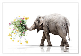 Póster Premium Elephant with Flower