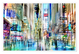 Póster Premium  USA NYC New York Abstrakte Skyline Collage - Städtecollagen