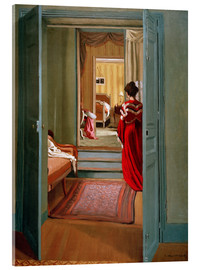 Quadro em acrílico  Interior with woman in red - Felix Edouard Vallotton