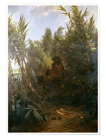 Póster Premium  Pan in the reed - Arnold Böcklin