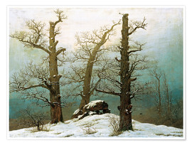 Póster Premium  Megalithic grave in the snow - Caspar David Friedrich