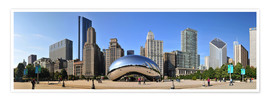 Póster Premium  Panorama Millenium Park in Chicago mit Cloud Gate - HADYPHOTO