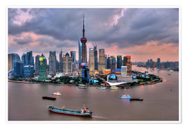 Póster Premium  View of Pudong - Shanghai - HADYPHOTO