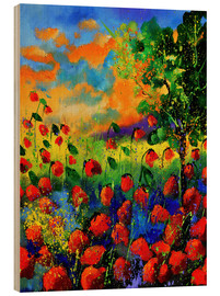 Quadro de madeira  Field of poppies - Pol Ledent