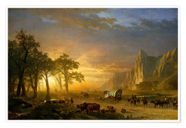 Póster Premium  Wagon Train on the Prairie - Albert Bierstadt