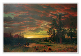 Póster Premium  Evening on the Prairie - Albert Bierstadt