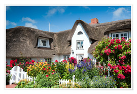 Póster Premium Amrum - thatched house with flower garden