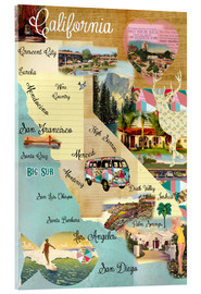 Quadro em acrílico  Vintage California Map Collage Poster on wooden background - GreenNest