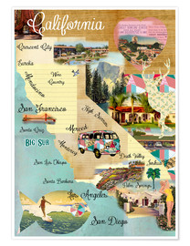 Póster Premium Vintage California Map Collage Poster on wooden background