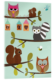Quadro em acrílico  Happy Tree with cute animals - owls, squirrel, racoon - GreenNest