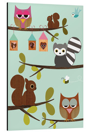 Quadro em alumínio  Happy Tree with cute animals - owls, squirrel, racoon - GreenNest