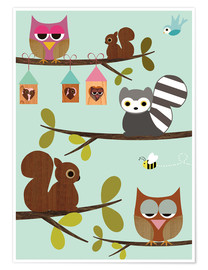 Póster Premium  Happy Tree with cute animals - owls, squirrel, racoon - GreenNest