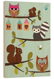 Quadro de madeira  Happy Tree with cute animals - owls, squirrel, racoon - GreenNest