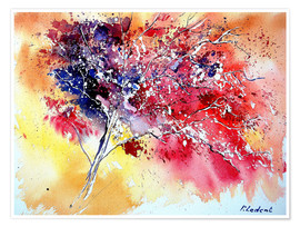Póster Premium  Red tree - Pol Ledent