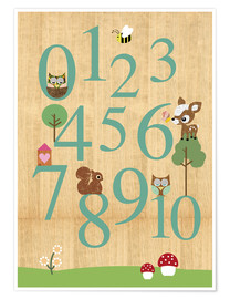 Póster Premium  Educational Numbers - learn to count - GreenNest