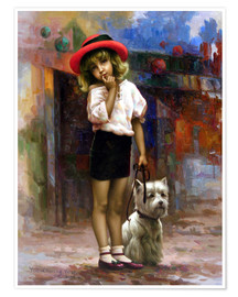 Póster Premium Girl with dog