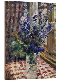 Quadro de madeira  Glass vase with Larkspur. 1924 - Lovis Corinth