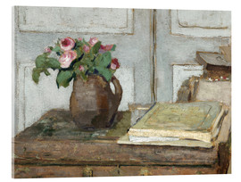 Quadro em acrílico  Still life with the artist painting set and a vase with moss roses - Edouard Vuillard