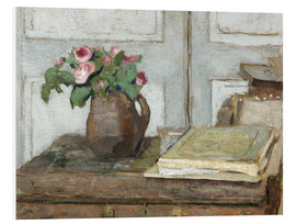 Quadro em PVC  Still life with the artist painting set and a vase with moss roses - Edouard Vuillard