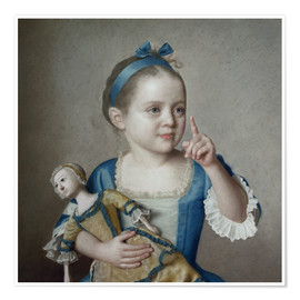 Póster Premium  Girl with doll - Jean Etienne Liotard