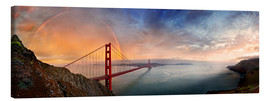 Quadro em tela  San Francisco Golden Gate with rainbow - Michael Rucker