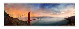 Póster Premium  San Francisco Golden Gate with rainbow - Michael Rucker