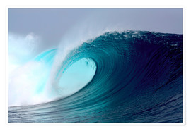 Póster Premium  Tropical blue surfing wave - Paul Kennedy