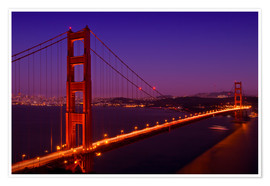 Póster Premium  Golden Gate Bridge by Night - Melanie Viola