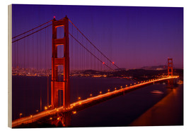 Quadro de madeira  Golden Gate Bridge by Night - Melanie Viola