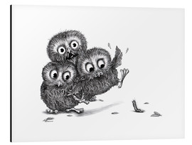 Quadro em alumínio  Help, three owls and a monster - Stefan Kahlhammer
