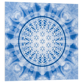 Quadro em PVC  flower of life blue - symbol harmony and balance - blue - Lava Lova