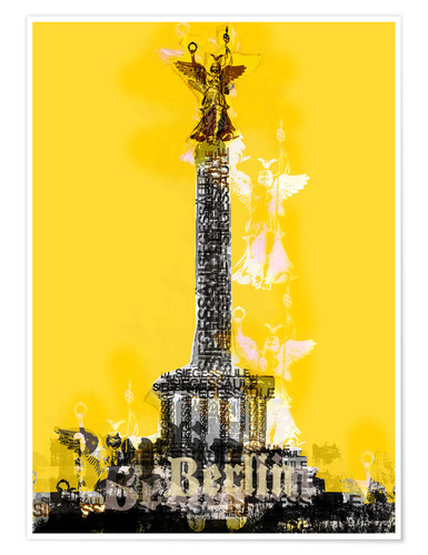 Póster Premium Berlin Victory Column (on Yellow)