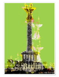 Póster Premium Berlin Victory Column (on Green)