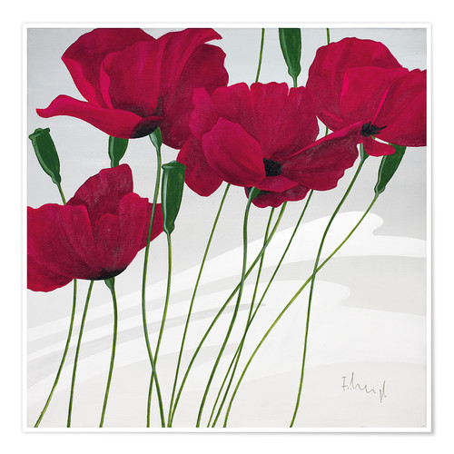 Póster Premium Poppies swayed by the wind