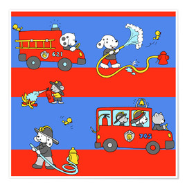 Póster Premium animal fire brigade