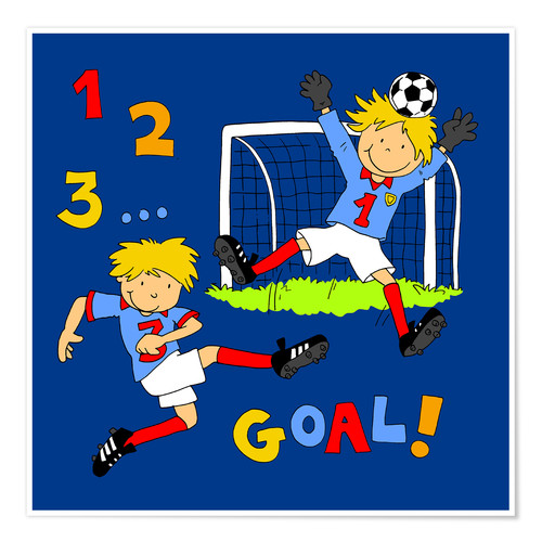 Póster Premium boys playing soccer, Goal!