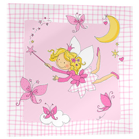 Quadro em acrílico  flying fairy with butterflies on checkered background - Fluffy Feelings