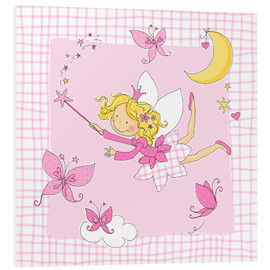 Quadro em PVC  flying fairy with butterflies on checkered background - Fluffy Feelings