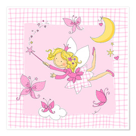 Póster Premium  flying fairy with butterflies on checkered background - Fluffy Feelings