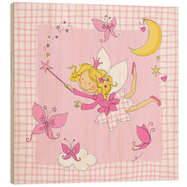 Quadro de madeira  flying fairy with butterflies on checkered background - Fluffy Feelings