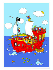 Póster Premium pirate ship scene