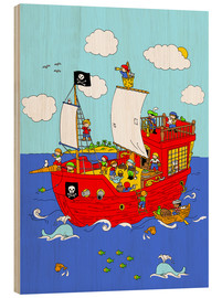 Quadro de madeira  pirate ship scene - Fluffy Feelings