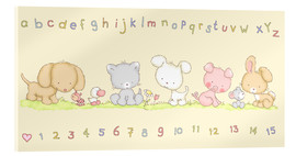 Quadro em acrílico  baby pet animals with alphabet and numbers - Fluffy Feelings
