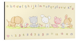 Quadro em alumínio  baby pet animals with alphabet and numbers - Fluffy Feelings