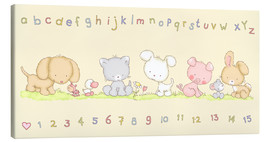 Quadro em tela  baby pet animals with alphabet and numbers - Fluffy Feelings